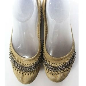 Beige Leather Embossed Chain Trim Ballet flats 38